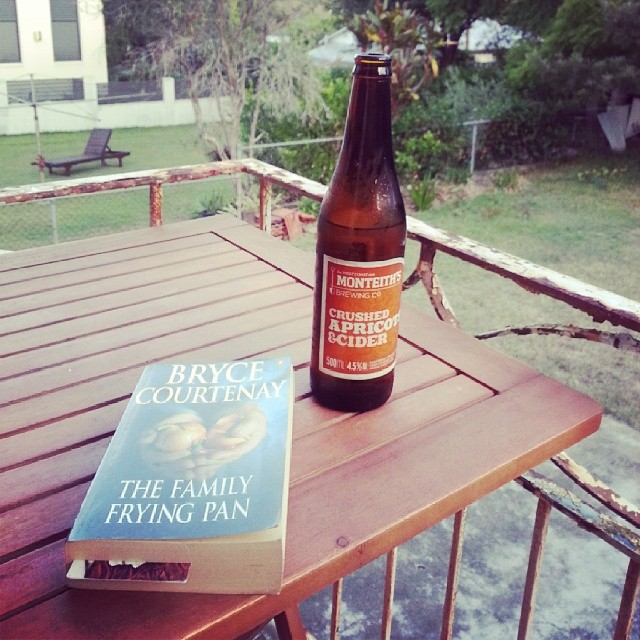 #thissundaylife is a #monteiths #cider and a book (#BryceCourtenay) after a day of study, protest and gardening.
